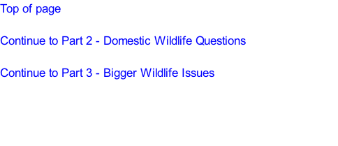 Top of page  Continue to Part 2 - Domestic Wildlife Questions  Continue to Part 3 - Bigger Wildlife Issues